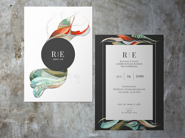 Wedding invitation, two faced abstract black white theme card