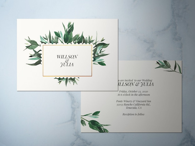 Wedding invitation, two-faced flower green theme invitation