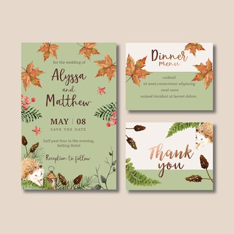 Wedding invitation watercolour with pastel autumn theme