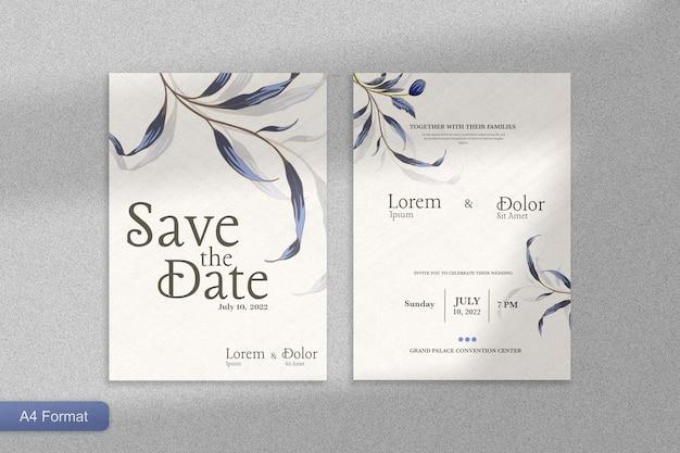 青い花と結婚式の招待状