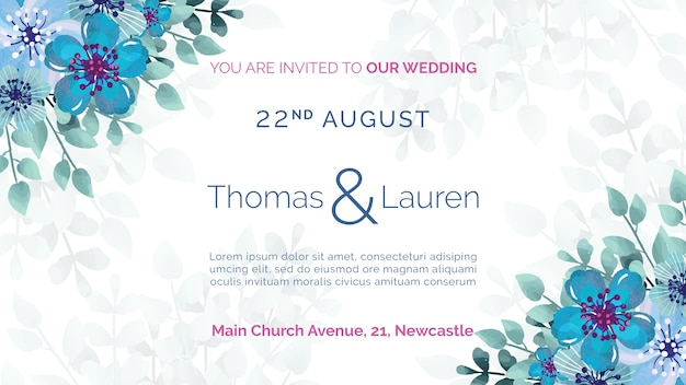 Wedding invitation with blue flowers frame