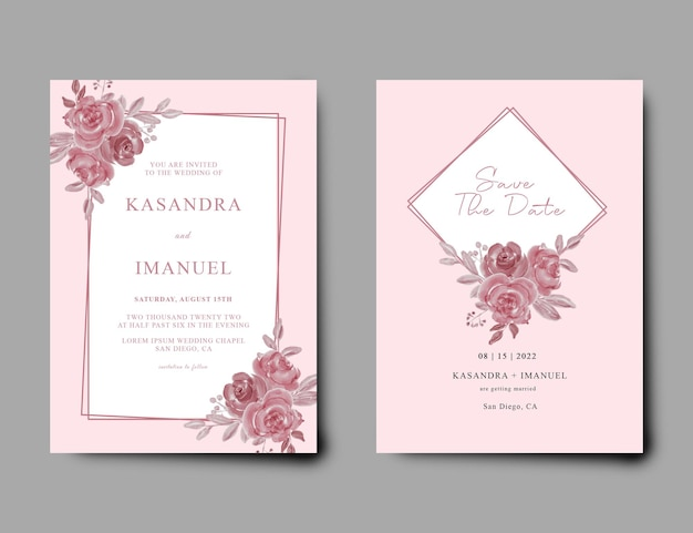 Wedding invitation with pink background and watercolor flower decoration