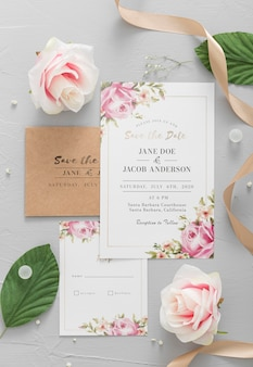 Wedding invitation with plants