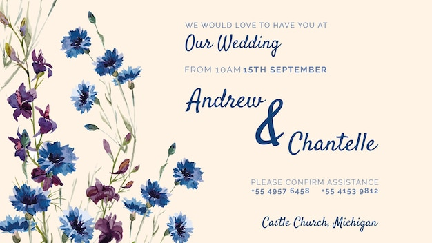 Wedding invitation with purple and blue flowers