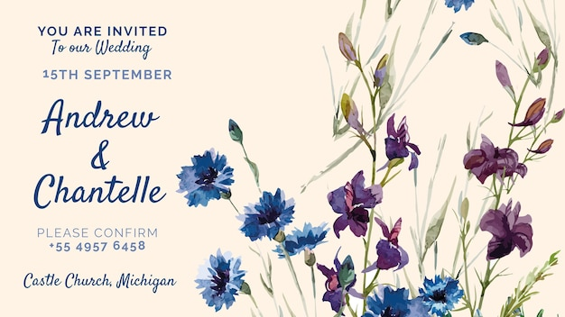 Wedding invitation with purple and blue painted flowers