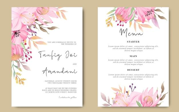 ロマンチックな水彩花と結婚式の招待状