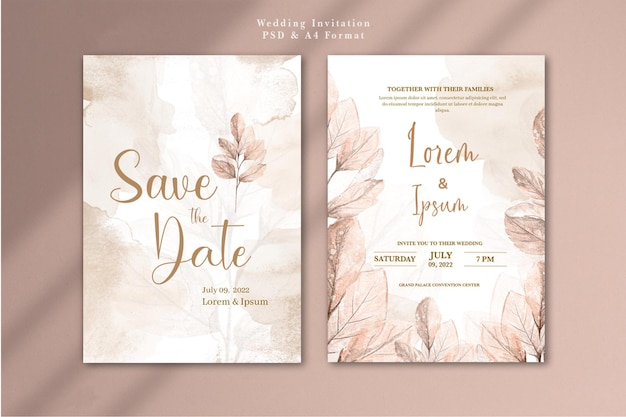 Wedding invitation with watercolor rose gold flower