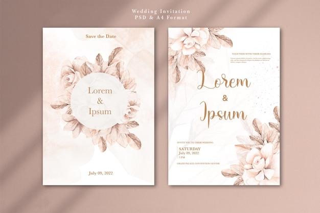 수채화 장미 금 꽃과 청첩장
