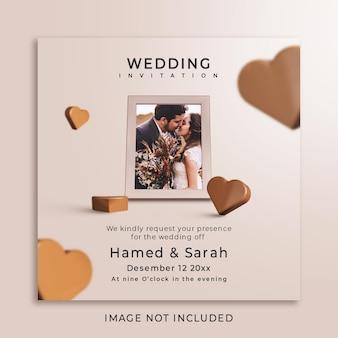 写真のモックアップと結婚式の招待状