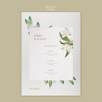 Wedding menu template concept