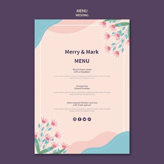 Wedding menu template theme