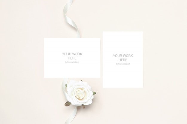 Wedding mockup two cards with flower and ribbon