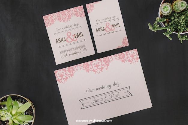 Wedding mockup with plants