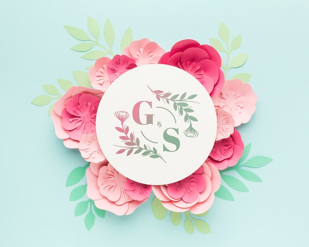Wedding monogram mock-up with paper flowers on blue background