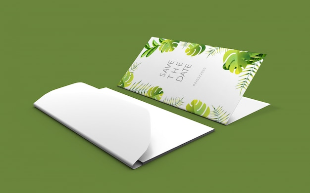 Wedding nature card mockup