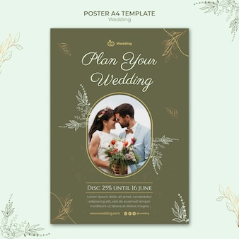 Wedding poster template with photo