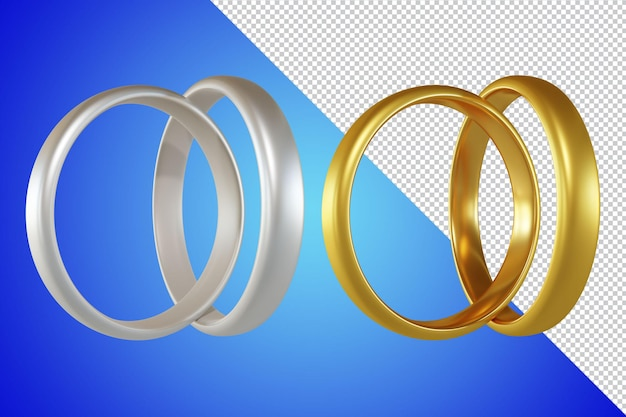 結婚指輪の3dレンダリングが分離されました