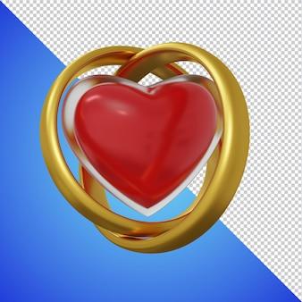 Glassed 심장 모양 3d 렌더링 격리와 결혼 반지 프리미엄 PSD 파일