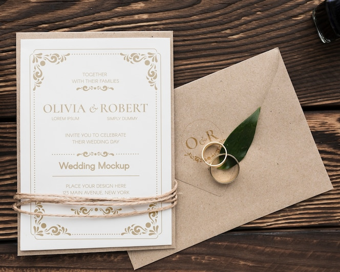 Wedding rings with invitation