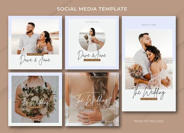 Wedding social media post bundle template