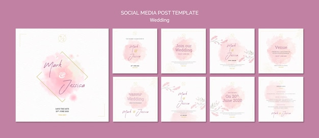 Wedding social media post template mock-up