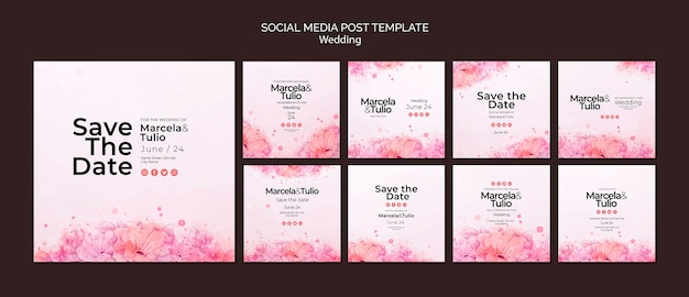 Wedding social media post template theme