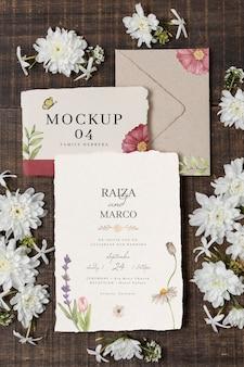 Wedding still life mockup with invitation design