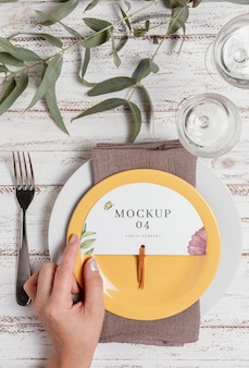 Wedding still life mockup with table number design
