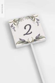 Wedding table number stick mockup, close up