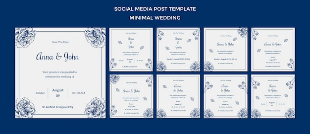 Modello di matrimonio per post sui social media