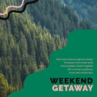 Modello di viaggio per il fine settimana psd per annunci sui social media delle agenzie