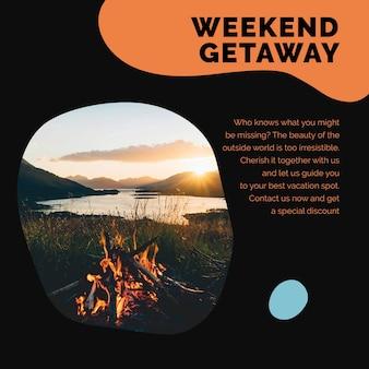 代理店のソーシャルメディア広告のための週末の休暇旅行テンプレートpsd