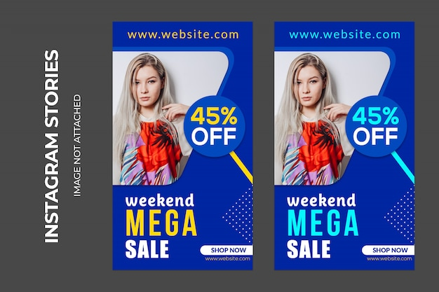 Weekend mega sale banner, premium psd