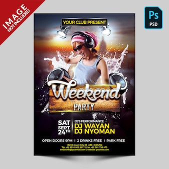 Weekend party flyer template