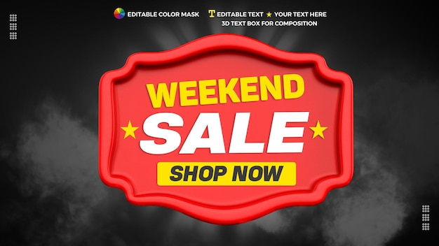 Weekend sale 3d text element with shop now in 3d rendering