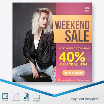 Weekend sale special offer for fashion square banner or instagram post template