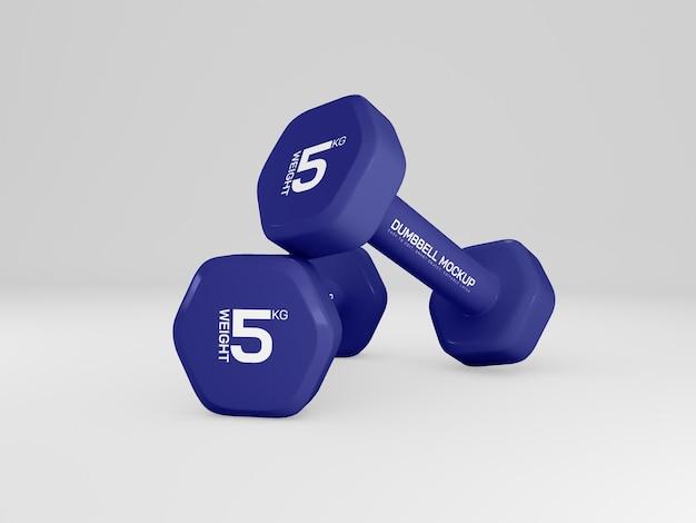 Manubrio con pesi per allenamento mockup