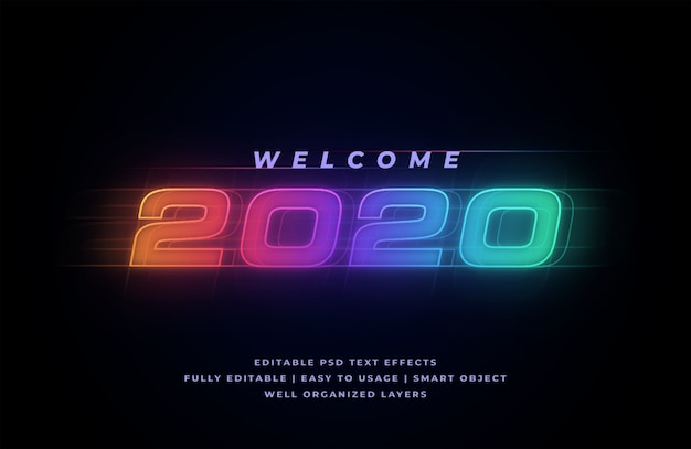 Welcome 2020 text style effect