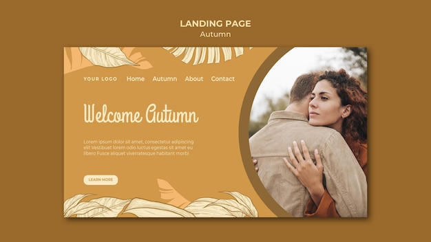 Welcome autumn couple hugging landing page