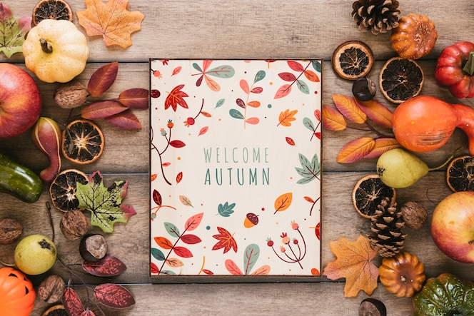 Welcome autumn quote surrounded by fall elements