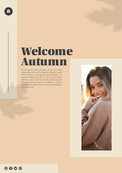 Welcome autumn web template with beautiful woman