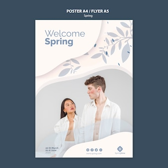 Welcome spring flyer template