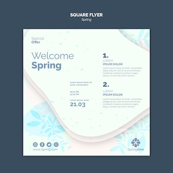 Welcome spring square flyer template