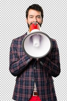 Well dressed man holding a megaphone