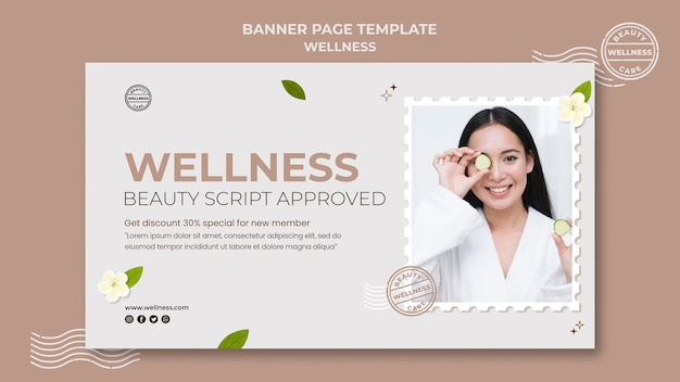 Wellness banner template with photo