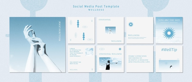 Wellness instagram posts template with photo