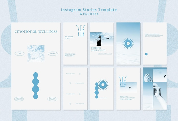 Wellness instagram stories template with photo