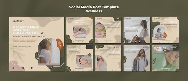 Wellness social media posts set