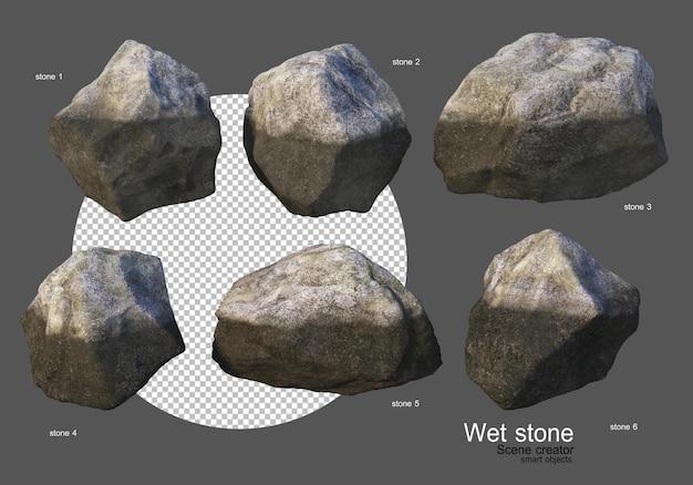 다양한 모양의 젖은 암석
