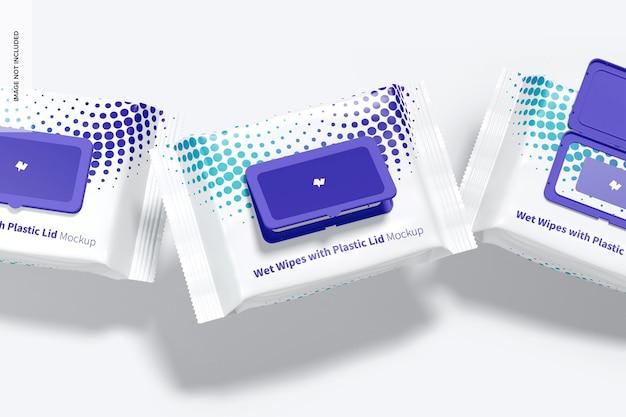 플라스틱 뚜껑 모형이있는 젖은 닦음 대형 포장, 떨어지는